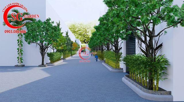 Dự toán và thiết kế khối lượng cây cho công ty Nhựa Long Thành 7