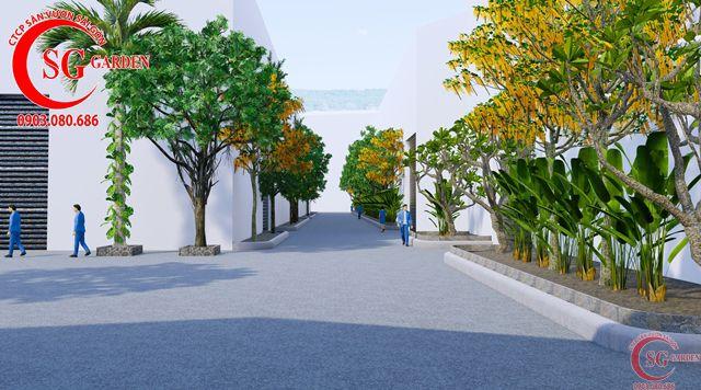 Dự toán và thiết kế khối lượng cây cho công ty Nhựa Long Thành 16