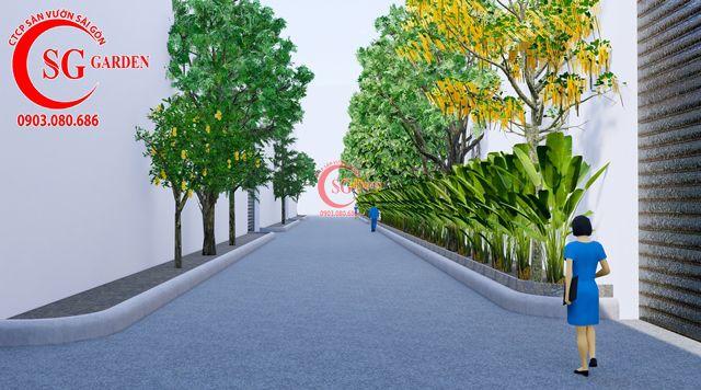 Dự toán và thiết kế khối lượng cây cho công ty Nhựa Long Thành 18