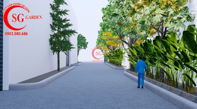 Dự toán và thiết kế khối lượng cây cho công ty Nhựa Long Thành 21