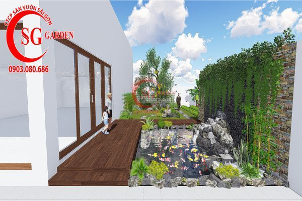 Bản vẽ sân vườn anh Hùng cá sấu hoa cà 1