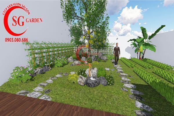 Bản vẽ sân vườn anh Hùng cá sấu hoa cà 8