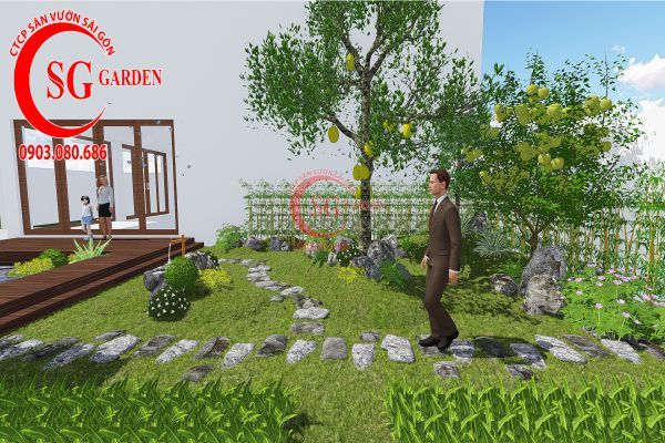 Bản vẽ sân vườn anh Hùng cá sấu hoa cà 10