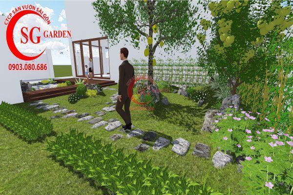 Bản vẽ sân vườn anh Hùng cá sấu hoa cà 9