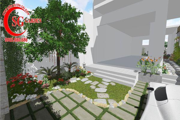 Thiết kế sân vườn anh Khanh Bình Tân 1