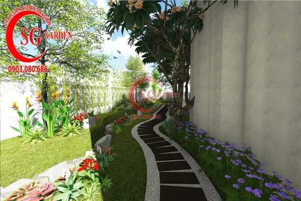 Thiết kế sân vườn biệt thự cô Tư Phú Mỹ Hưng 11