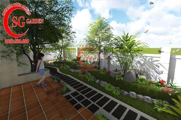 Thiết kế sân vườn biệt thự cô Tư Phú Mỹ Hưng 3