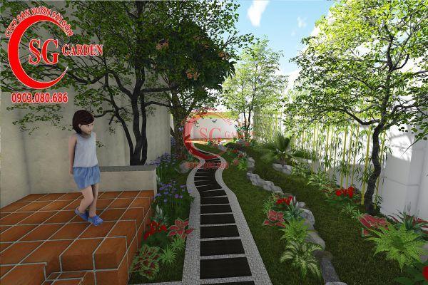 Thiết kế sân vườn biệt thự cô Tư Phú Mỹ Hưng 6