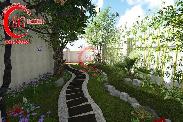 Thiết kế sân vườn biệt thự cô Tư Phú Mỹ Hưng 7