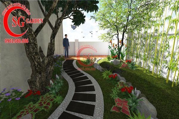 Thiết kế sân vườn biệt thự cô Tư Phú Mỹ Hưng 9