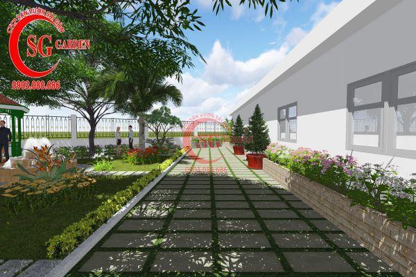 Thiết kế sân vườn nhà chú Đức Long An 1