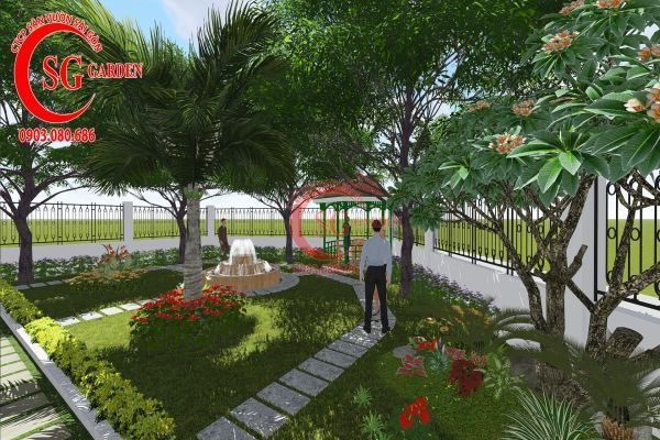 Thiết kế sân vườn nhà chú Đức Long An 10