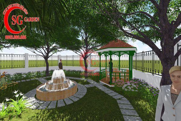 Thiết kế sân vườn nhà chú Đức Long An 11