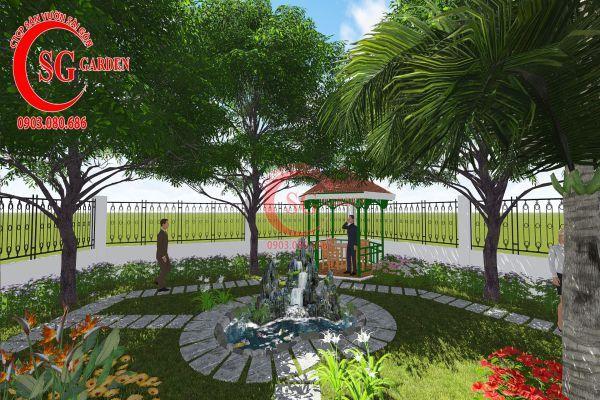 Thiết kế sân vườn nhà chú Đức Long An 4