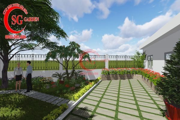 Thiết kế sân vườn nhà chú Đức Long An 8