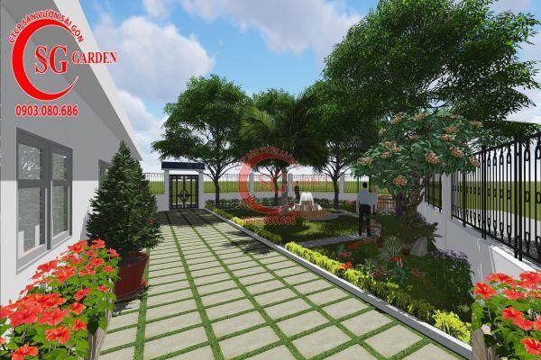Thiết kế sân vườn nhà chú Đức Long An 9