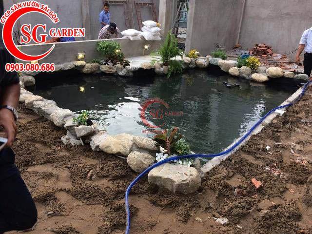 Thi công hồ cá sân vườn công ty Vision Asia 4