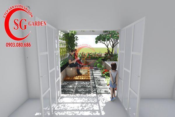 Thiết kế sân vườn sân thượng anh Nguyên quận 4 1