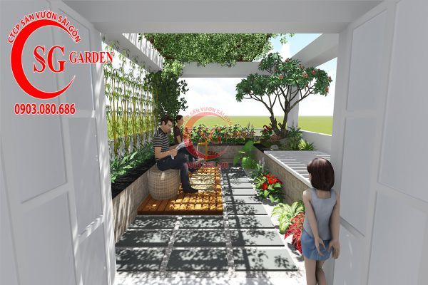 Thiết kế sân vườn sân thượng anh Nguyên quận 4 2