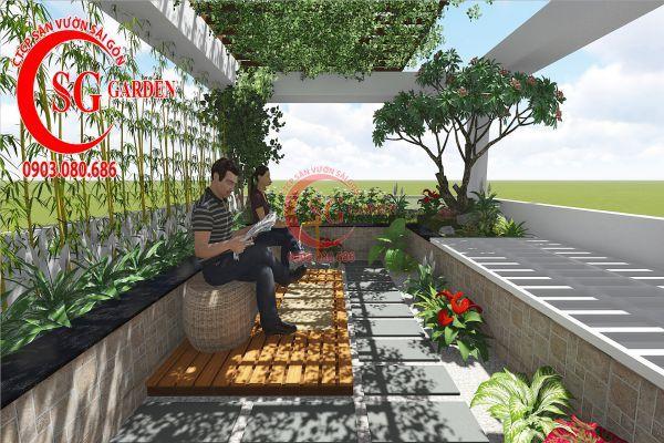 Thiết kế sân vườn sân thượng anh Nguyên quận 4 3