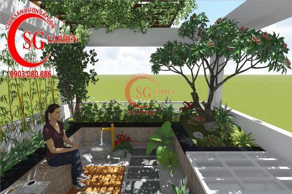 Thiết kế sân vườn sân thượng anh Nguyên quận 4 5