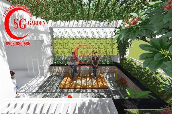 Thiết kế sân vườn sân thượng anh Nguyên quận 4 6