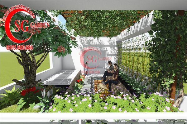 Thiết kế sân vườn sân thượng anh Nguyên quận 4 7