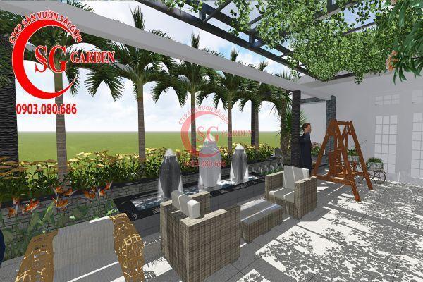 Thiết kế sân vườn showroom nội thất Anh Ngọc 10