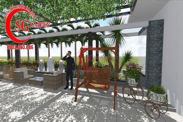 Thiết kế sân vườn showroom nội thất Anh Ngọc 11