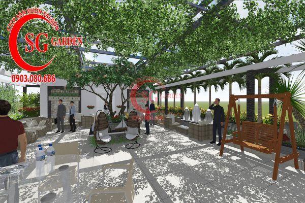 Thiết kế sân vườn showroom nội thất Anh Ngọc 2