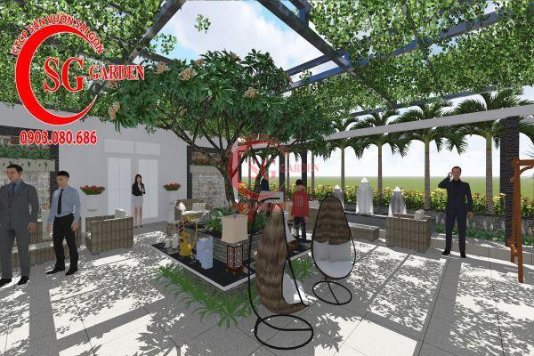 Thiết kế sân vườn showroom nội thất Anh Ngọc 6