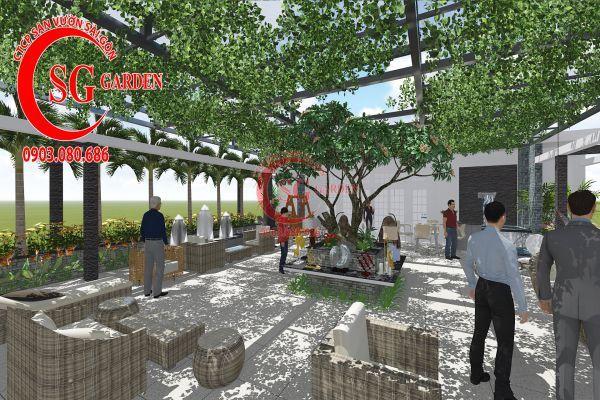 Thiết kế sân vườn showroom nội thất Anh Ngọc 8