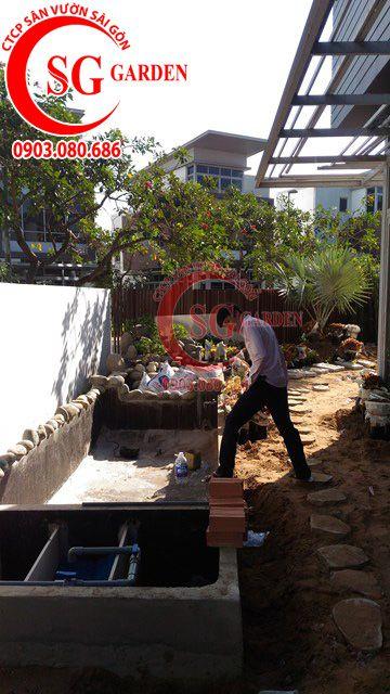 Công trình thi công sân vườn anh Sơn quận 9 10
