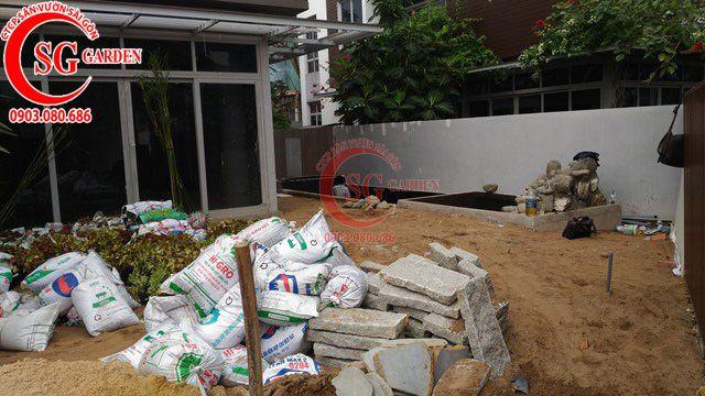 Công trình thi công sân vườn anh Sơn quận 9 4