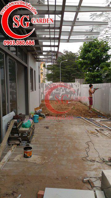 Công trình thi công sân vườn anh Sơn quận 9 8