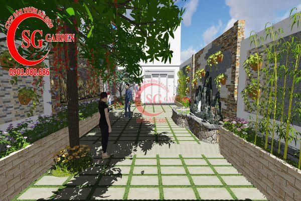 Công trình thi công sân vườn chị Nhung quận 8 1