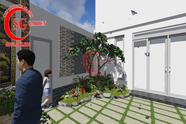 Công trình thi công sân vườn chị Nhung quận 8 11
