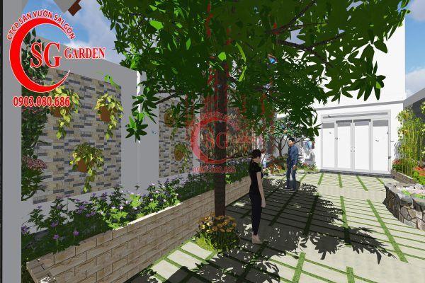 Công trình thi công sân vườn chị Nhung quận 8 2