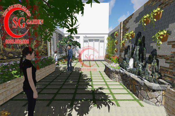 Công trình thi công sân vườn chị Nhung quận 8 4