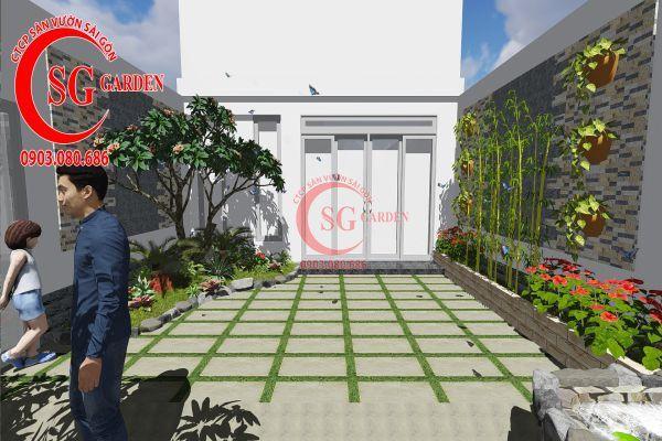 Công trình thi công sân vườn chị Nhung quận 8 9