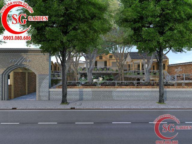 Thiết kế cafe sân vườn anh Hải Bình Dương 1