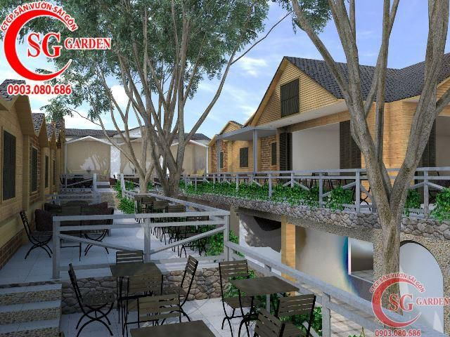 Thiết kế cafe sân vườn anh Hải Bình Dương 2