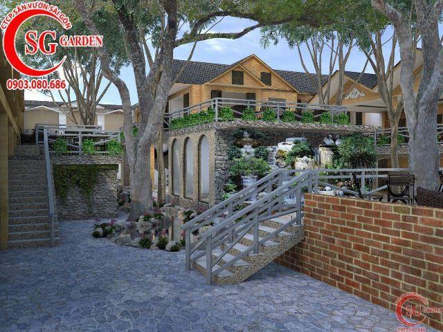 Thiết kế cafe sân vườn anh Hải Bình Dương 4
