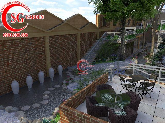 Thiết kế cafe sân vườn anh Hải Bình Dương 7