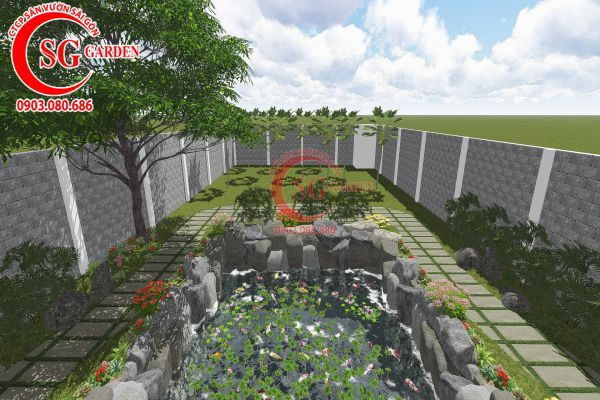 Thiết kế sân vườn anh Tuấn Bình Chánh 19