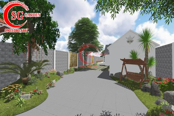 Thiết kế sân vườn anh Tuấn Bình Chánh 8