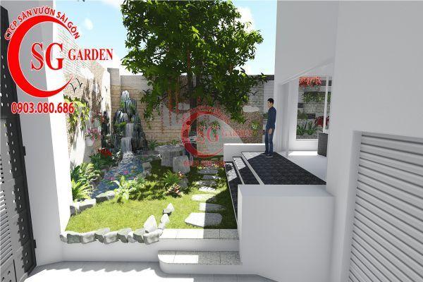 Thiết kế sân vườn biệt thự nhà anh Dân Tân Phú 1