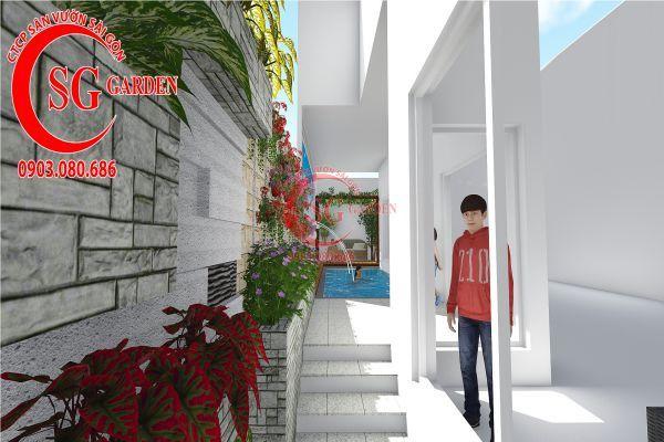 Thiết kế sân vườn biệt thự nhà anh Dân Tân Phú 10
