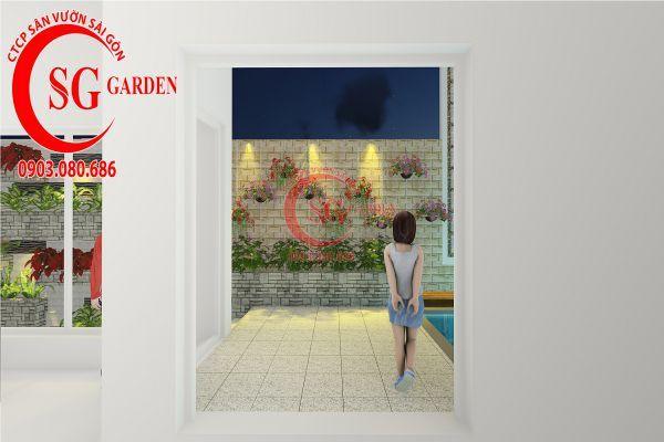 Thiết kế sân vườn biệt thự nhà anh Dân Tân Phú 18