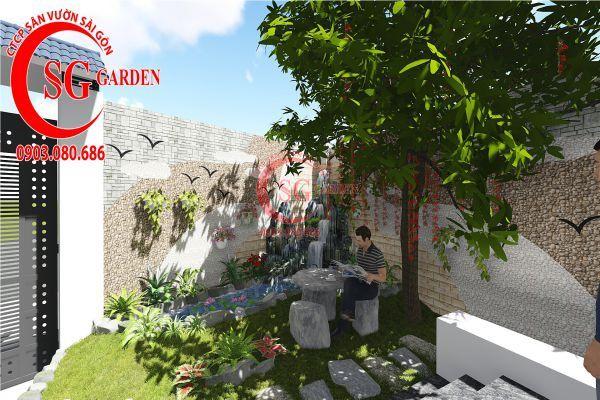 Thiết kế sân vườn biệt thự nhà anh Dân Tân Phú 3